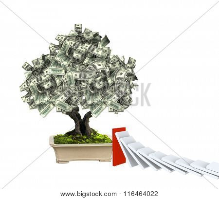 3d money tree with dollar banknotes and domino effect. Isolated on white background