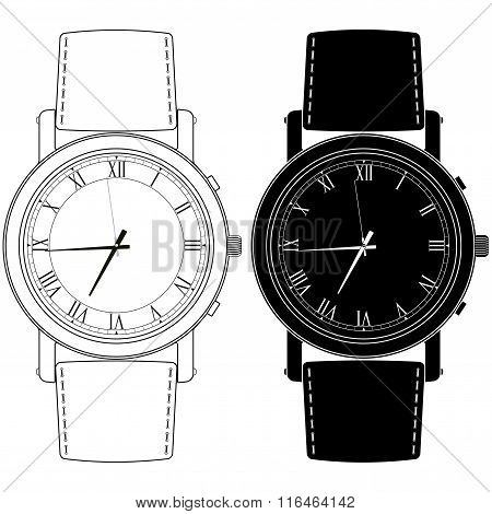 Watch Icon With Roman Numeral.