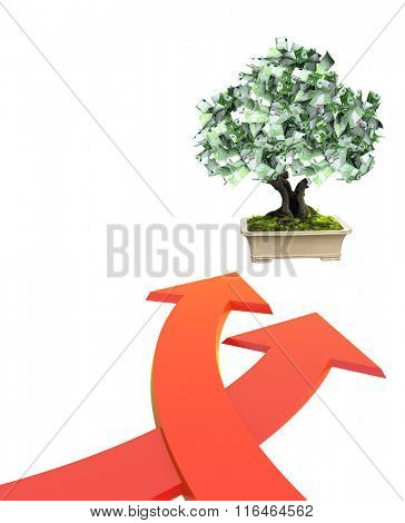 3d money tree with euro banknotes and two bound arrows of red color. Isolated on white background
