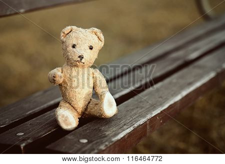 Toy Bear Sitting On A Bench