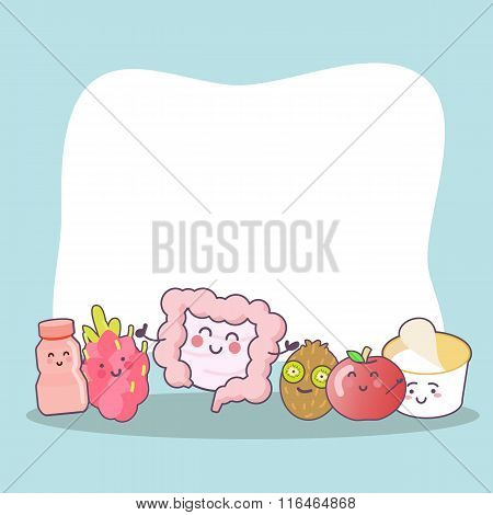 Cartoon Intestine With Health Food