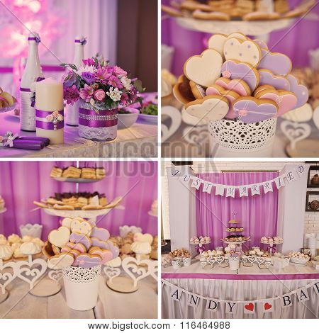Colorful Cakes Collage. Dessert Table For A Party. Ombre Cake, Cupcakes, Sweetness And Flowers.