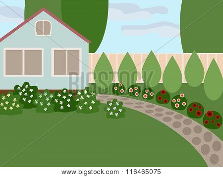 Country House With Lawn And Blooming Flowers In The Yard. No Mesh, Gradient, Transparency Used. Obje