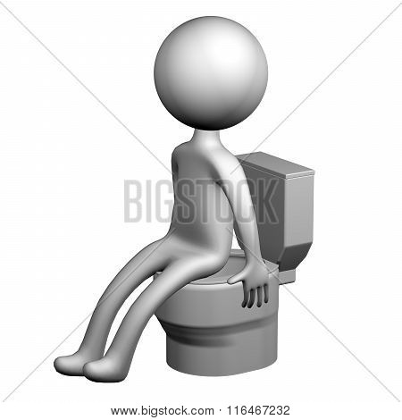 3D Man On The Toilet Seat