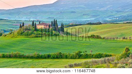 Beautiful Tuscany landscape at early morning , Italy