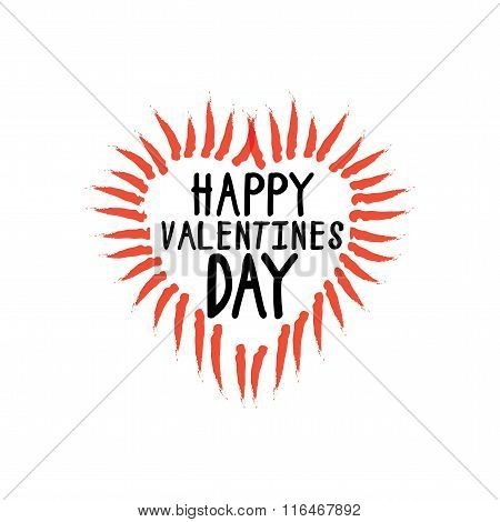 Happy Valentines Day Vector Graphic With Handwritten Love Or Heart Symbol