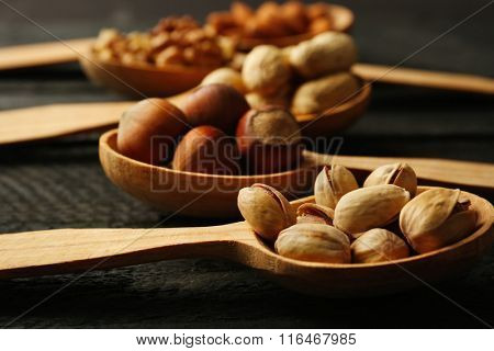 Spoons with hazelnuts, walnuts, pistachios, almonds and peanuts, close-up