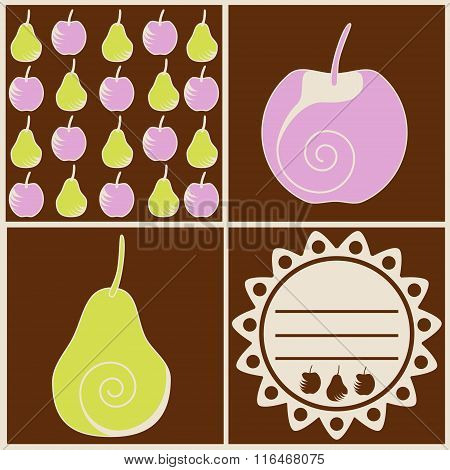Drawn Pears And Apples, Vintage Label. No Mesh, Gradients, Transparency Used. Objects Grouped And Na