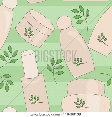 Natural Cosmetics Seamless Background. No Gradient, Mesh,transparency Used. Objects Grouped And Name