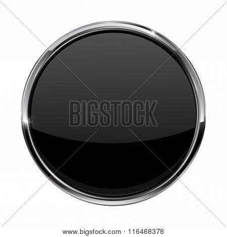 Black Button. Shiny Glass Button With Metal Frame.