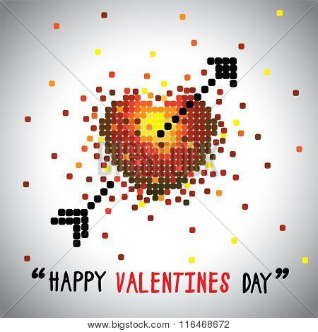 Happy Valentines Day Vector Graphic With Love Symbol And Arrow