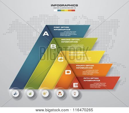 Abstract pyramid shape layout with 5 steps clean number banners template.