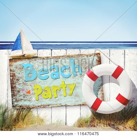 Beach Party Sailboat Buoy Sand Grass Summer Ocean Concept