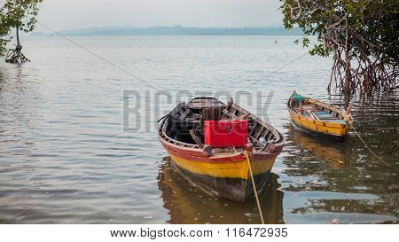Fishermen's Boats In The Mangroove Bay.