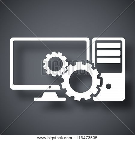 Computer Settings Icon, Stock Vector