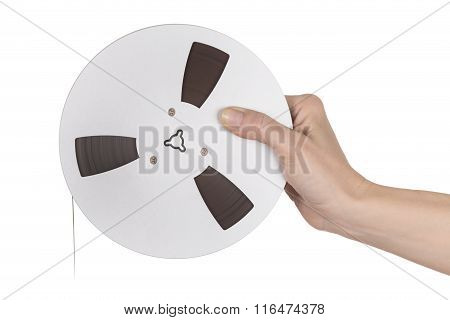 Female Hand Holding Tape Of Reel Tape Recorder
