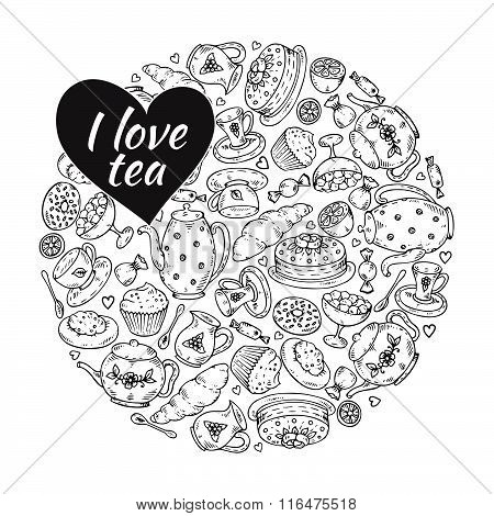 Tea Sketch Doodle Hand Drawn Elements In Circle Form.