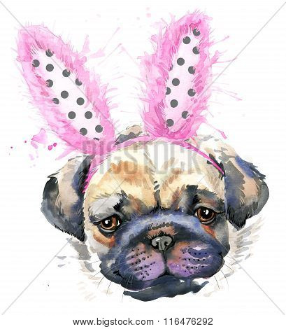 Cute puppy dog. Watercolor pug dog illustration.  unusual illustration watercolor puppy dog for fash