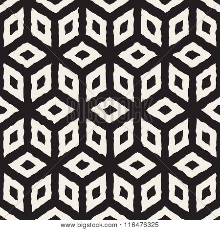 Vector Seamless Black And White Hand Painted Line Geometric Cube Pattern