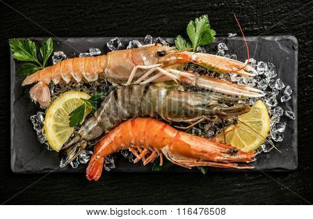 Prawns and lobster served on black stone