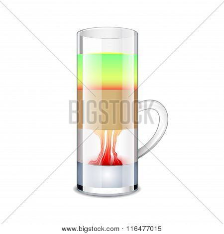 Hiroshima Cocktail Isolated On White Vector