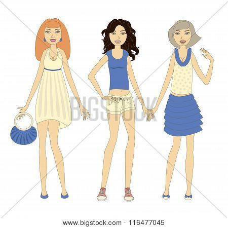 Three Young Stylish Women Demonstrating Summer Clothes. Objects Grouped And Named In English. No Mes