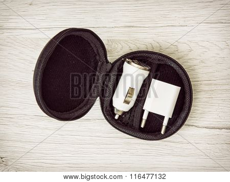 Set Of Usb Car Chargers In The Circle Black Box, Charging Devices