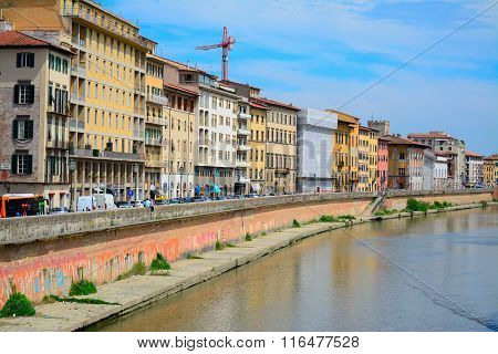 Arno Banks Seen From Pisa Riverfront