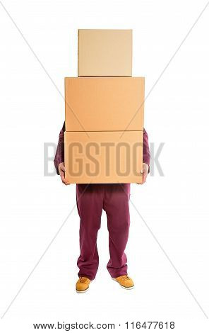 Man with stacked boxes.