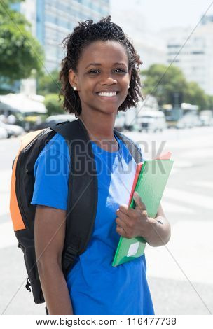 Happy African American Female Student In The City