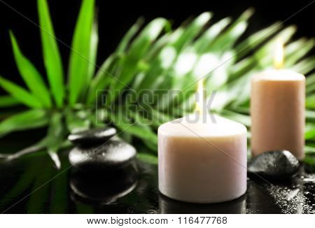 Aroma candles and pebbles with palm leaves on dark background