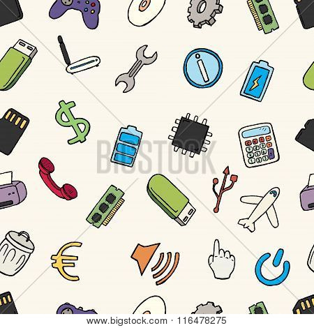 Hand drawn web and computer icons