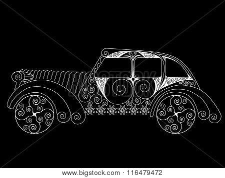 Vintage Car Painted With White Patterns On Black Background. No Mesh, Gradient, Transparency Used. S