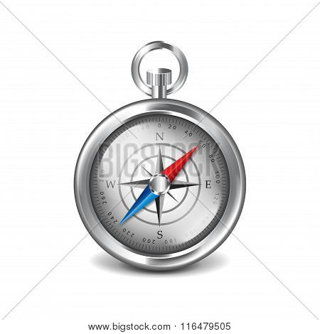 Silver Compass Isolated On White Vector