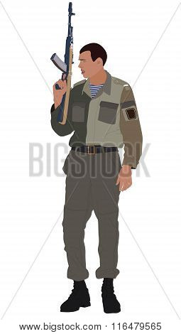 Illustration Of Soldier Holding Machine Gun. No Mesh, Gradient, Transparency Used. Objects Grouped A