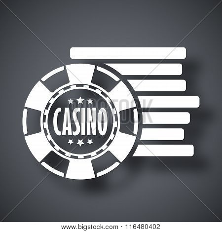 Casino Chips Icon, Stock Vector