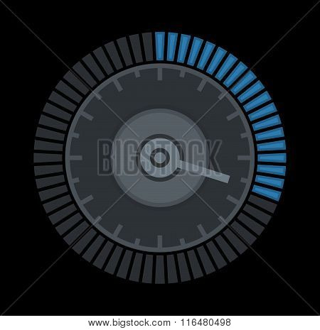 Dial Sign Template with Segmented, Level Indicator on Black Background. Vector