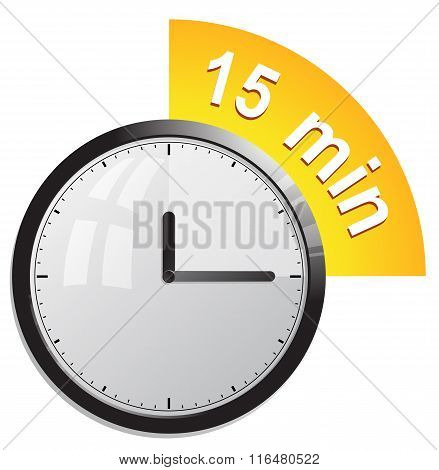 Timer 15 minutes vector illustration