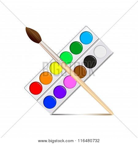 Watercolor Paint Palette Isolated On White Vector