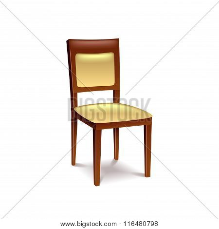 Wooden Chair Isolated On White Vector