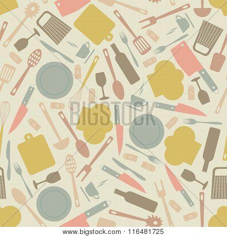 Seamless Pattern Of Kitchen Utensils