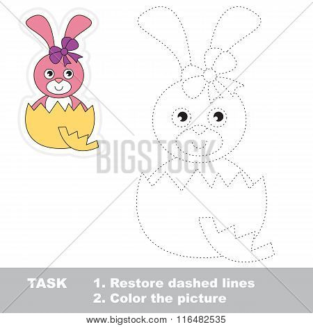 Cute Bunny to be traced. Vector trace game.