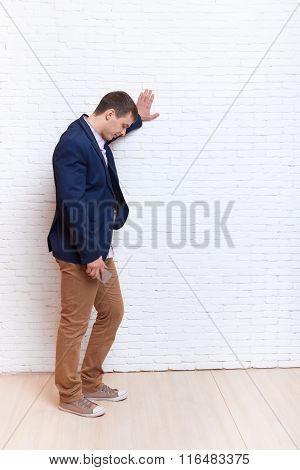 Business Man Stress Upset Hand On Wall Looking Down, Businessman Depression Pondering