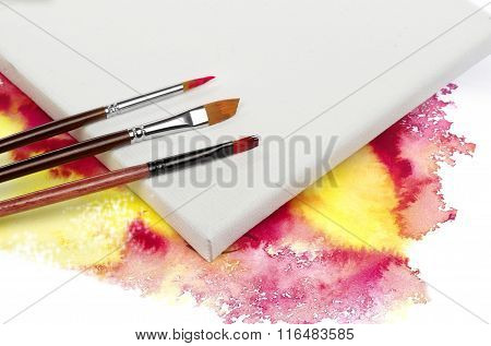 Canvas and brushes