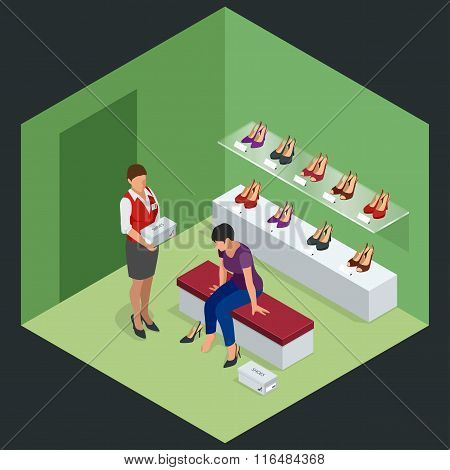 Woman at shoe store. Young woman choosing shoes in a shoe store. Shoes stand high heels. Isometric v