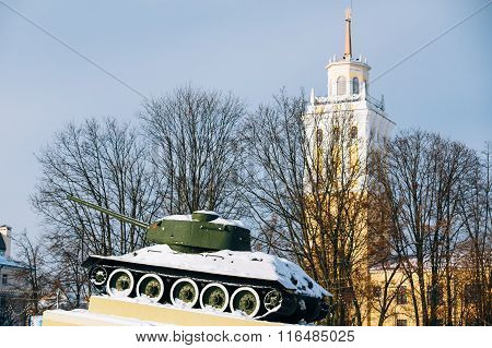 Old soviet tank like monument in Gomel, Belarus