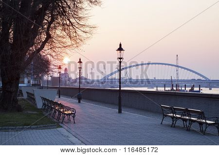 Apollo Bridge On Danube River At Sunrise