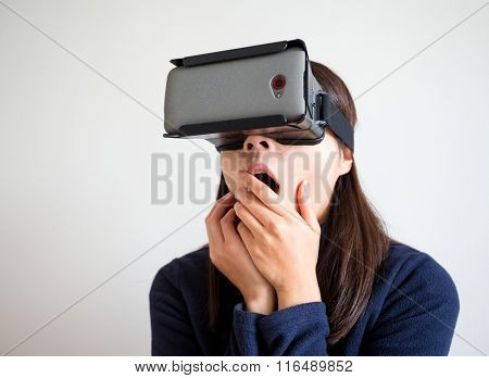 Woman watch scary movie with virtual reality