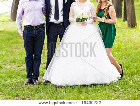 Bride And Groom Celebrating With Guests