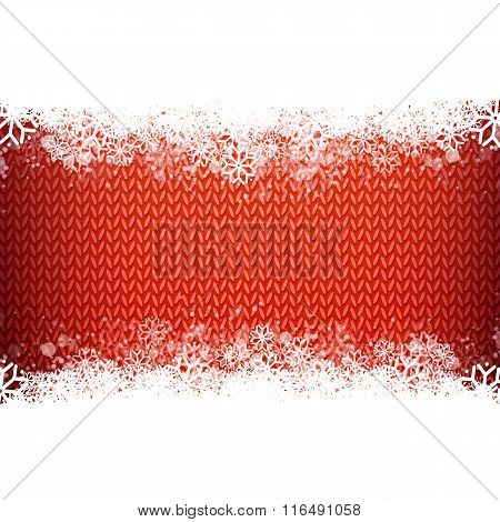 Red knitted narrow band background for winter